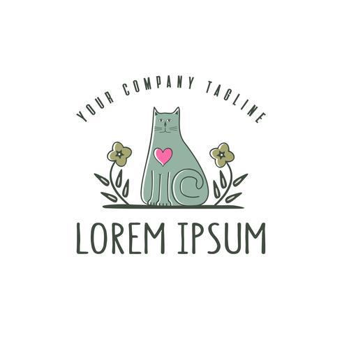 cute cat logo. Pet shop logo design concept template. vector
