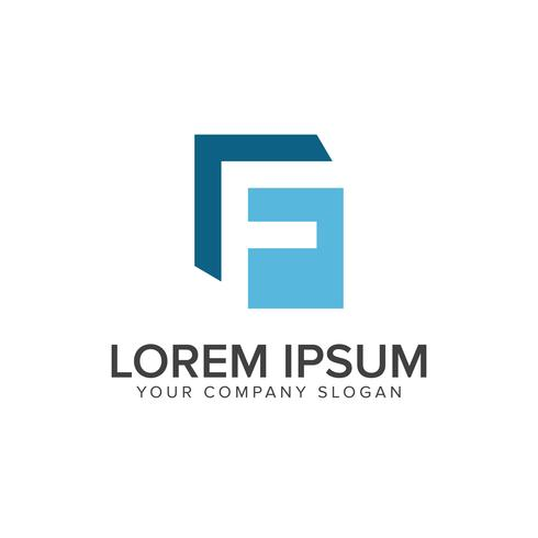 Letter F logo. blue business design concept template