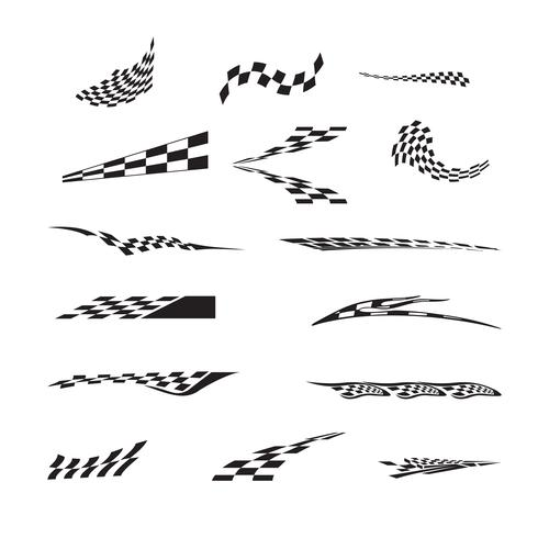 Vector of checkered racing flag splatters.