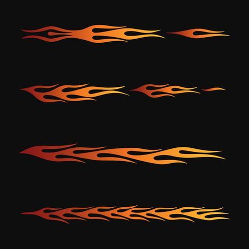 eldflammor i tribal stil för tatuering, fordon och t-shirt dekorationsdesign. Vehicle Graphics, Stripe, Vinyl Ready insamlingsuppsättning