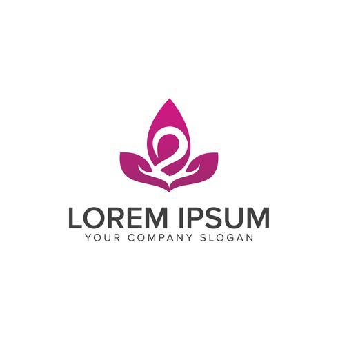 Plantilla de concepto de diseño de logotipo flor cisne vector
