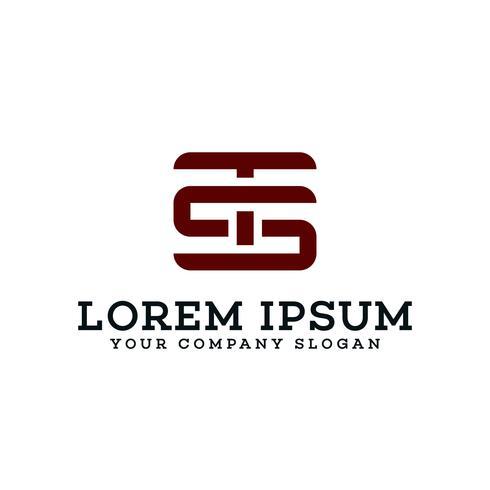 brev TS-logotyp. retro designkoncept mall