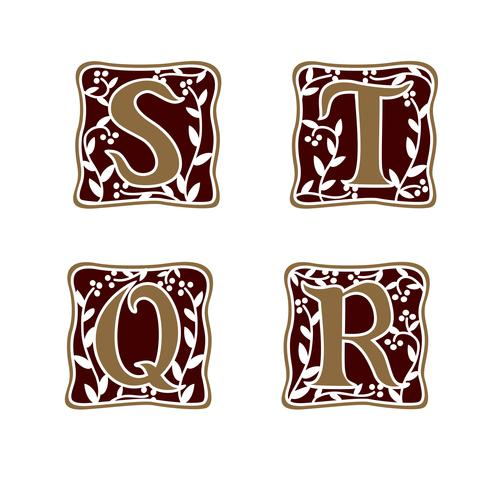 decorazione Lettera S, T, R, modello di progettazione del logo Q logo