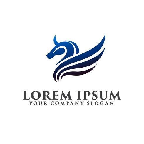 logo d'aile de cheval. modèle de conception de luxe