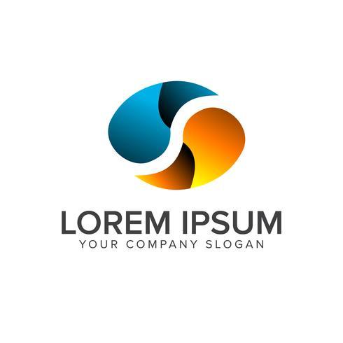 letter s logo. ovale shape design concept template vector
