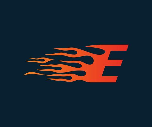 Letter E flame Logo. hastighet logotyp design koncept mall