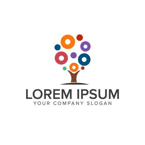 Tree circle Logos. art and Design, Entertainment logo design con vector