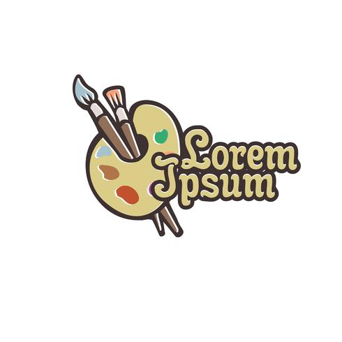 Wooden palette and brushes logo design concept template