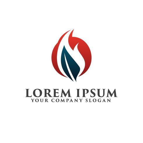 Blatt Feuer Logo-Design-Konzept-Vorlage