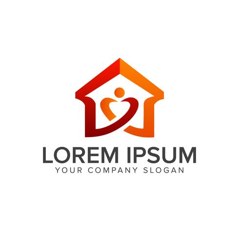 logotipo do amor em casa. logotipo imobiliário. modelo de conceito de design
