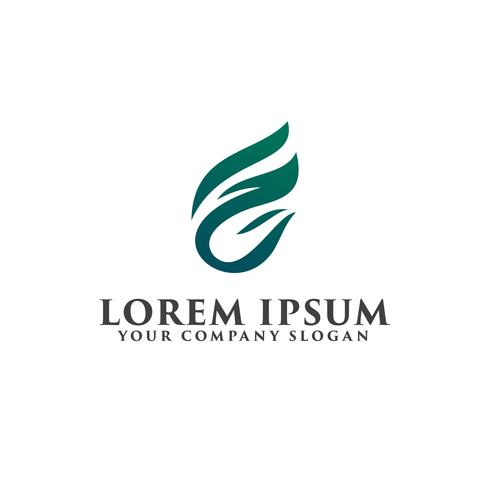 letter F leaf logo design concept template vector