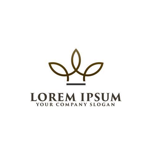Corona minimalista plantilla de concepto de diseño de logotipo