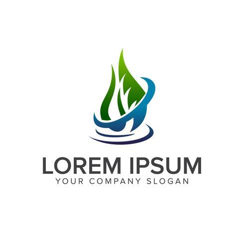 modello di concetto di goccia logo design del foglio