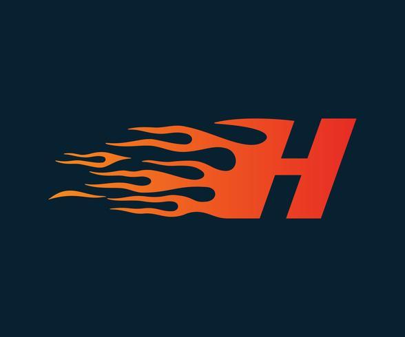 Logotipo de la letra H de la llama. Plantilla de concepto de diseño de logotipo de velocidad