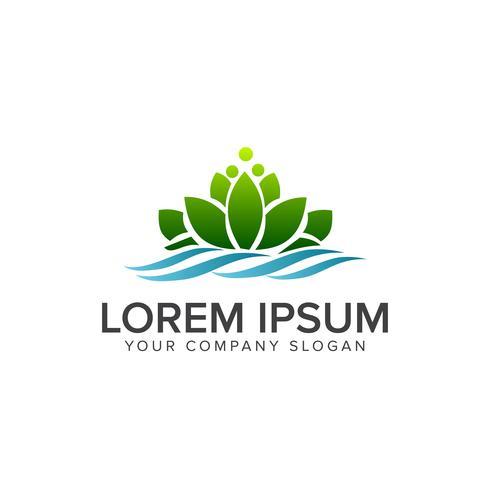 Plantilla de concepto de diseño de logotipo de loto verde
