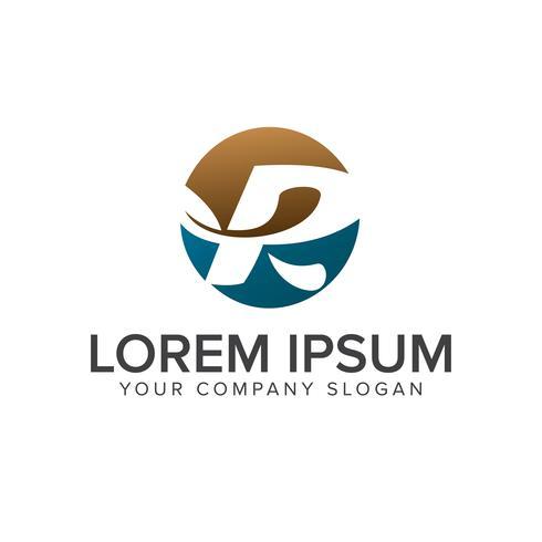 letter R leaf logo. circle design concept template vector