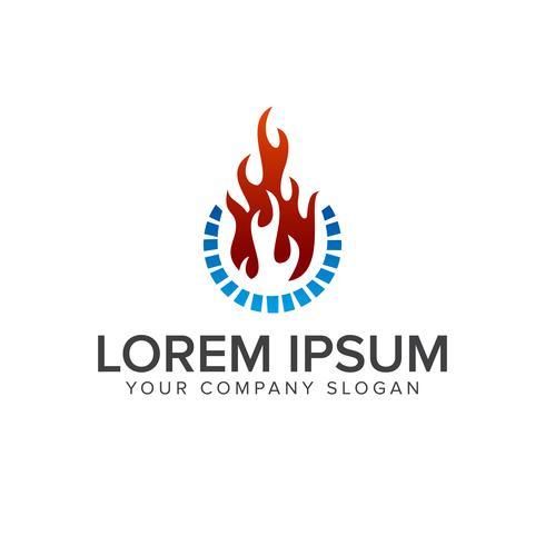 Plantilla de concepto de diseño de logotipo de llama y agua vector
