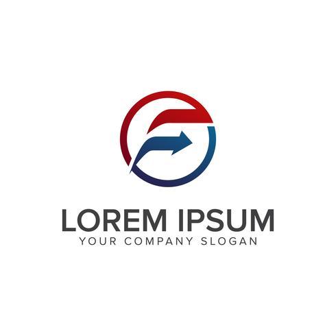 Lettre F flèche Modèle de concept de design de logo