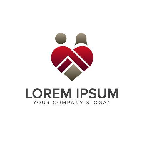 love romantic people logo design concept template vector