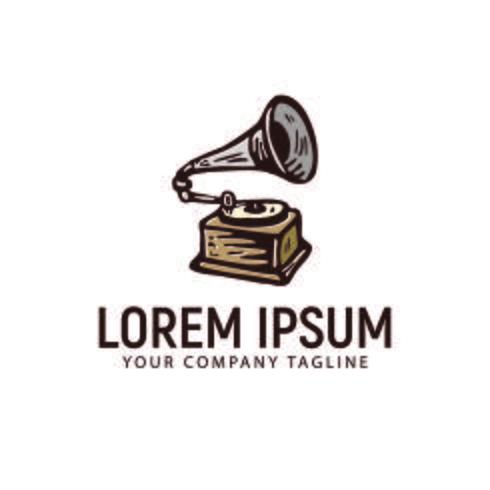 fonograaf retro hand getrokken logo ontwerpsjabloon concept