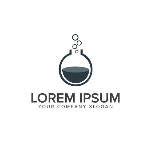 Logotipo do laboratório. modelo de conceito de design de logotipo de vidro de balão