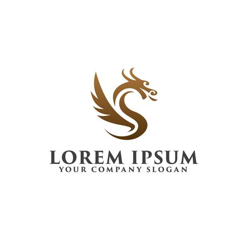 modelo de conceito de design de logotipo de dragão de luxo