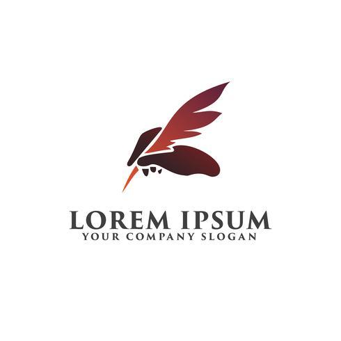 penna piuma tenendo il modello di logo design concept