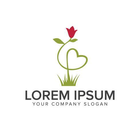 Plantilla de concepto de diseño de logotipo de hierba de flor vector