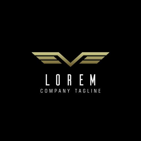 Logo der Flügel des Buchstaben V Luxusdesign-Konzeptschablone