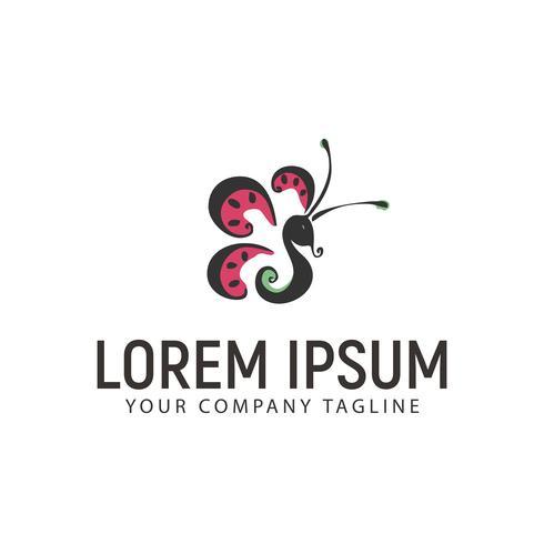 Schmetterling handgezeichnete Logo Design-Konzept-Vorlage
