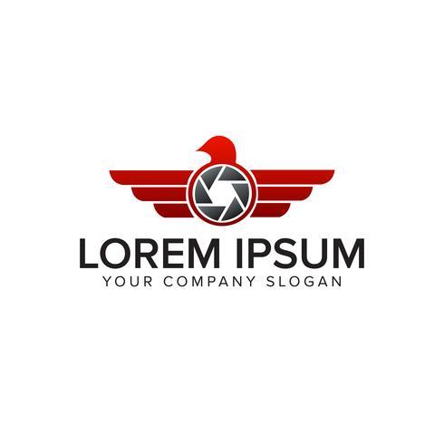 logo dell'ala fotografica. modello di concetto di design logo drone