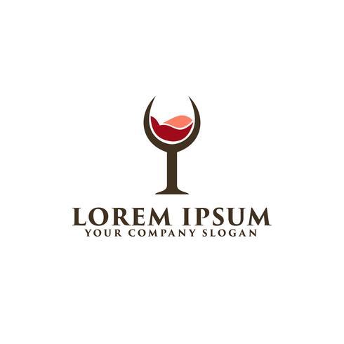 modello di concetto di design di bicchiere di vino logo