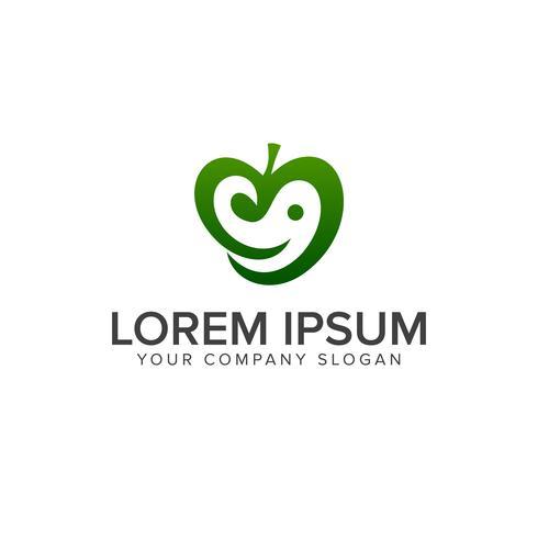 green apple logo. smile logo design concept template