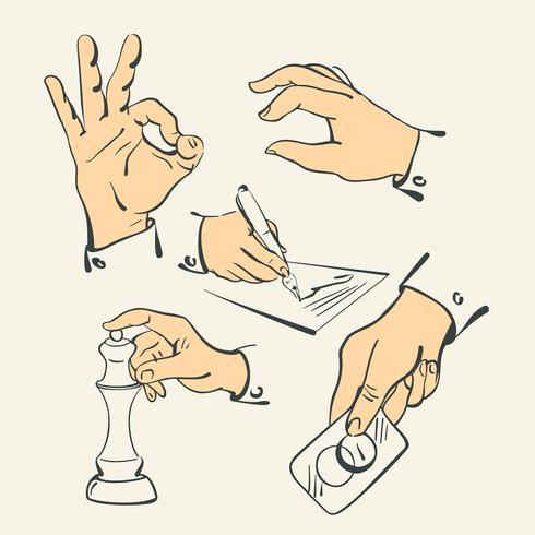 Collection de doigt de main - vector illustration style rétro