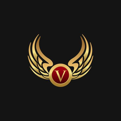 Luxury Letter V Emblem Wings logo design concept template vector