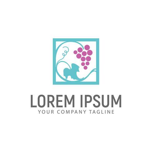 modelo de conceito de design de logotipo de uva