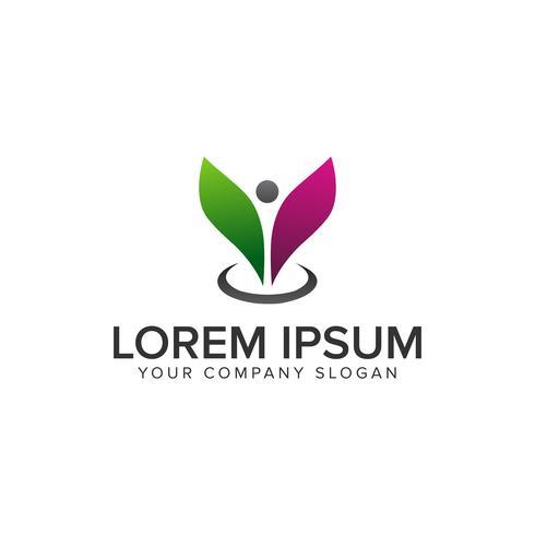 people leaf Logo. beauty spa design concept template