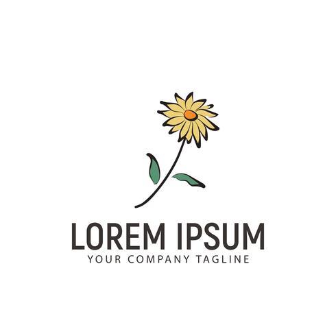 modelo de conceito do flor logotipo mão desenhada estilo design vetor