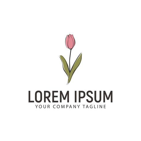 modèle de concept de conception de logo fleur style dessinés à la main vecteur