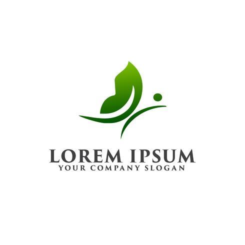 grön fjäril logotyp design koncept mall