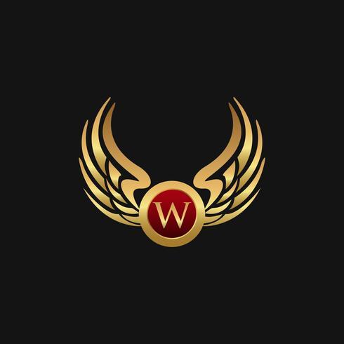 Plantilla de concepto de diseño de logotipo de lujo letra W emblema alas