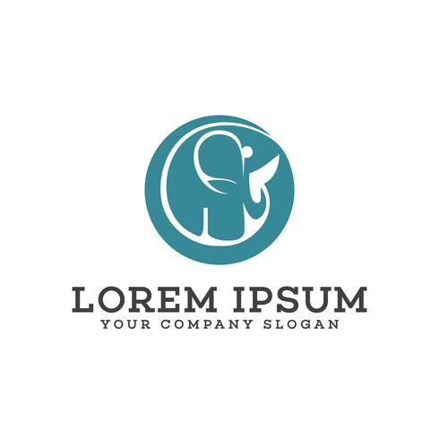 Modelo de conceito de design de logotipo de círculo de elefante