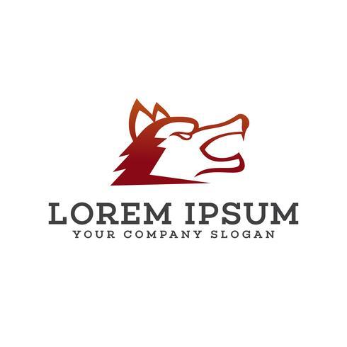 logotipo de lobo cabeza. plantilla de concepto de diseño de logotipo de rugido