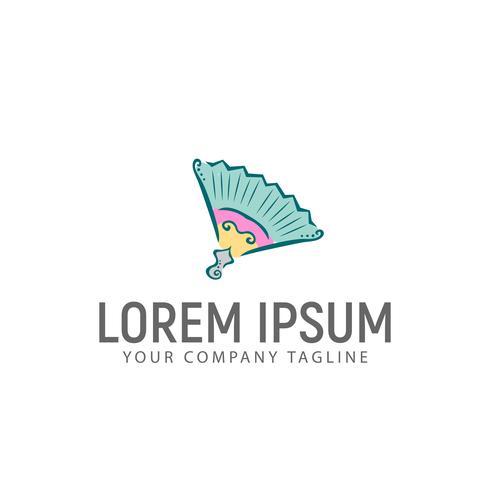 Plantilla de concepto de diseño de logotipo dibujado a mano de papel fan vector