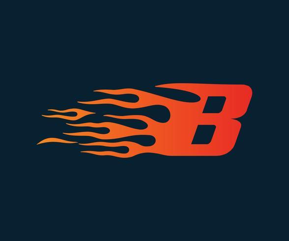 Letter B flame Logo. speed logo design concept template