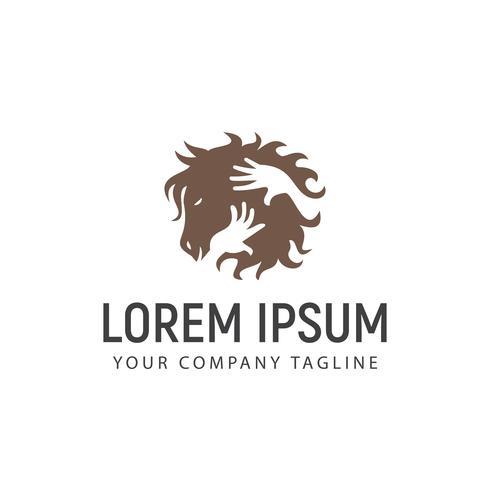 Plantilla de concepto de diseño de logotipo de cuidado de caballo
