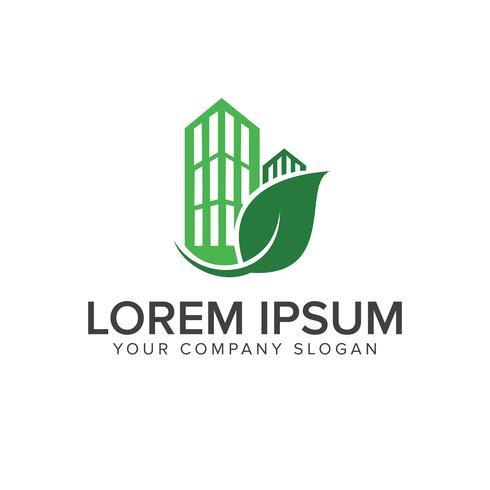 Plantilla de concepto de diseño de logotipo de edificio verde vector