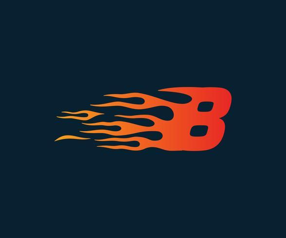 Número 8 logotipo de llama de fuego. Plantilla de concepto de diseño de carrera de velocidad vector