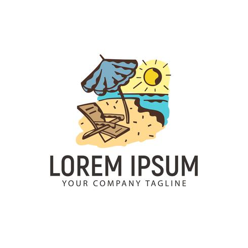 logotipo de férias de verão. modelo de conceito de design de logotipo retrô mão desenhada