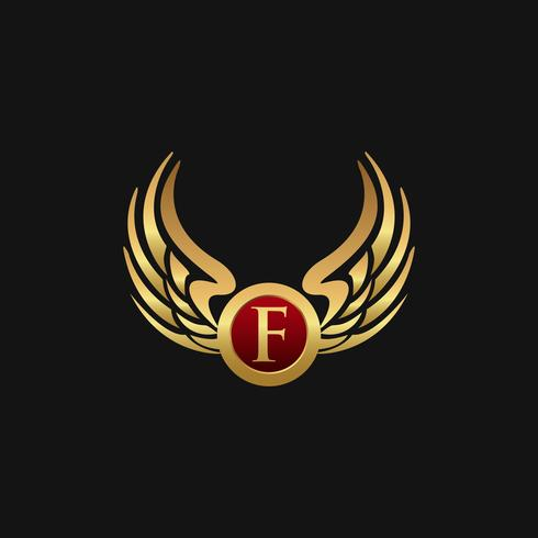 Plantilla de concepto de diseño de logotipo de lujo letra F emblema alas